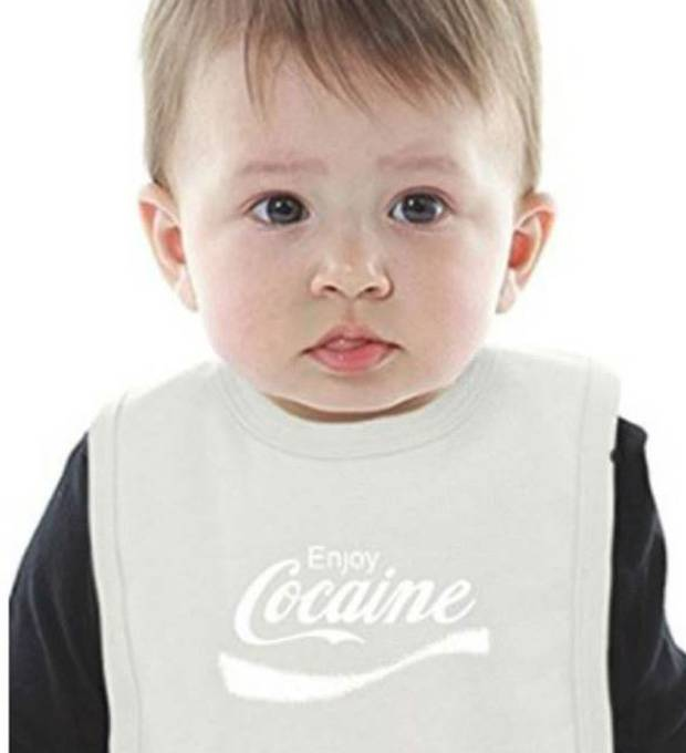 The range also featured babies' bibs printed with the phrase. Photo / Amazon