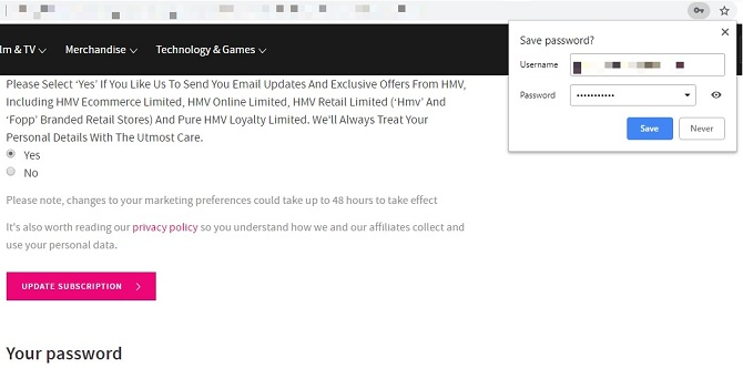 Can You Trust Your Browser With Credit Card Information? HMV password save